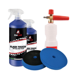 Image depicts various car detailing products.