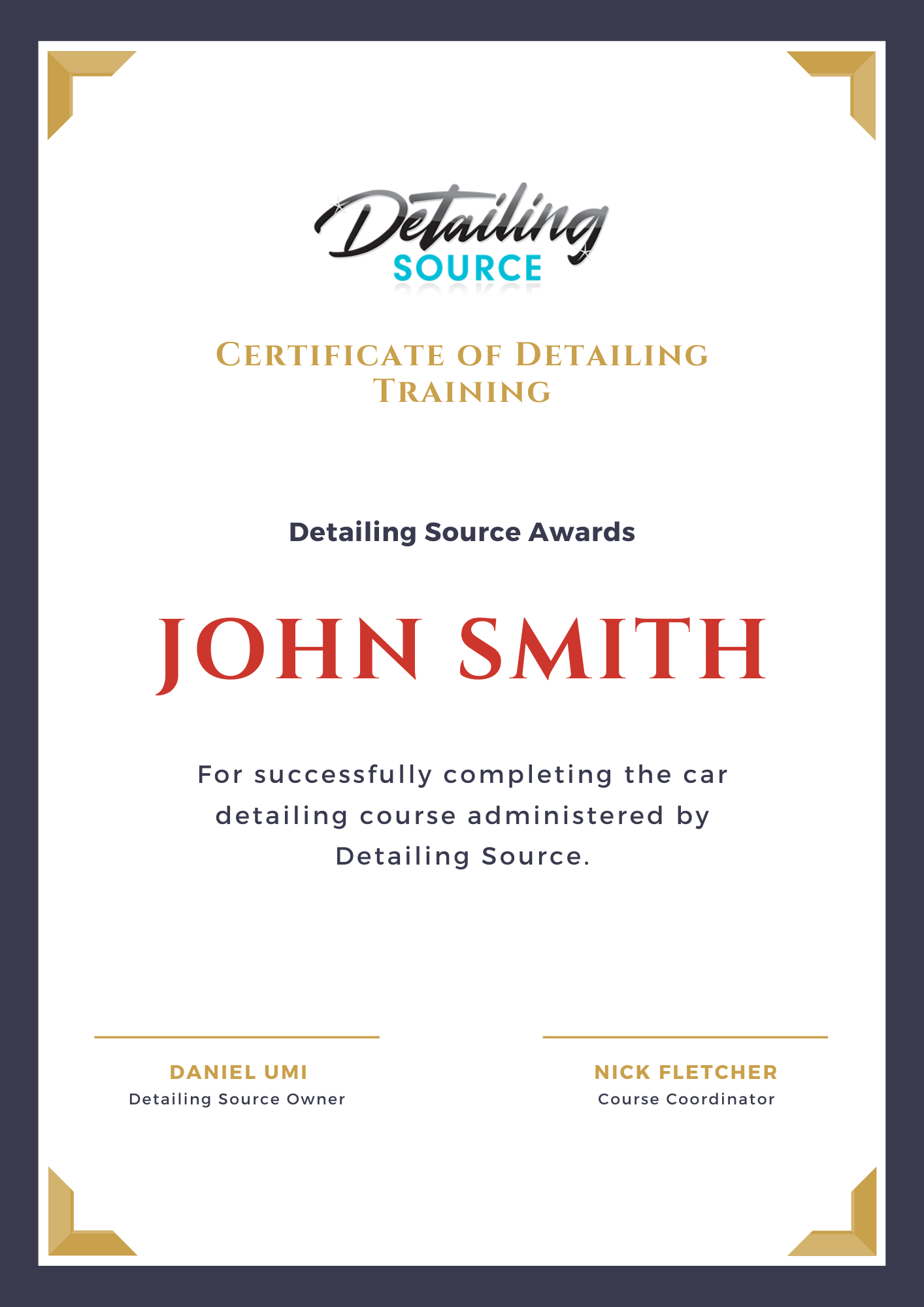 Detailing Source certificate for car detailing course.